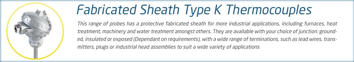 Fabricated Sheath Thermocouple Range
