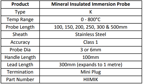 Specification for Mineral Insulated Immersion Probe