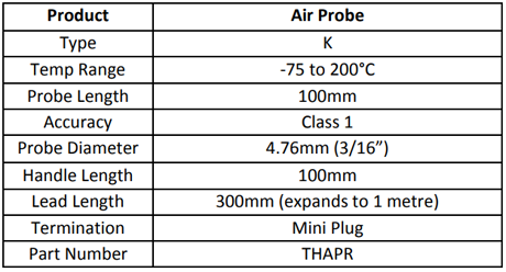 Specification for Hand Held Air Probe