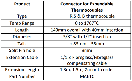 Specification for Connector for Expendable Thermocouples