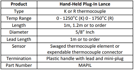 Specification for Hand-Held Plug-In Lance
