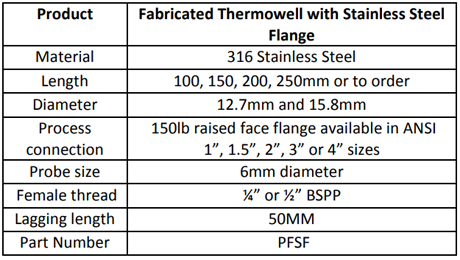 Specification for Fabricated Thermowell with Stainless Steel Flange