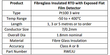 Fibreglass Insulated RTD with Exposed Flat Film Detector