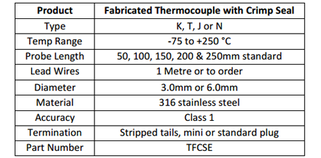 Thermocouple with crimp seal