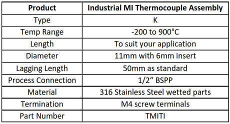 Specification for Mineral Insulated Thermocouple Assembly