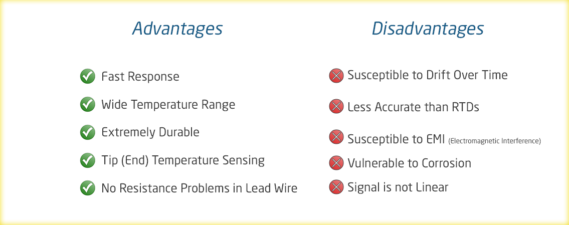 Advantages & Disadvantages Table for Type K Thermocouples