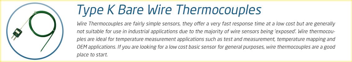 Bare Wire Thermocouple Range