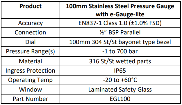 100mm Pressure Gauge Specification